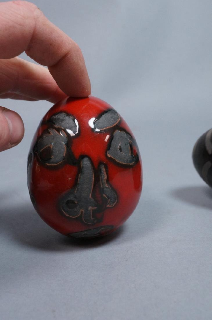 4 MADOURA Attrib. Pottery Face Design Glazed Eggs - 10