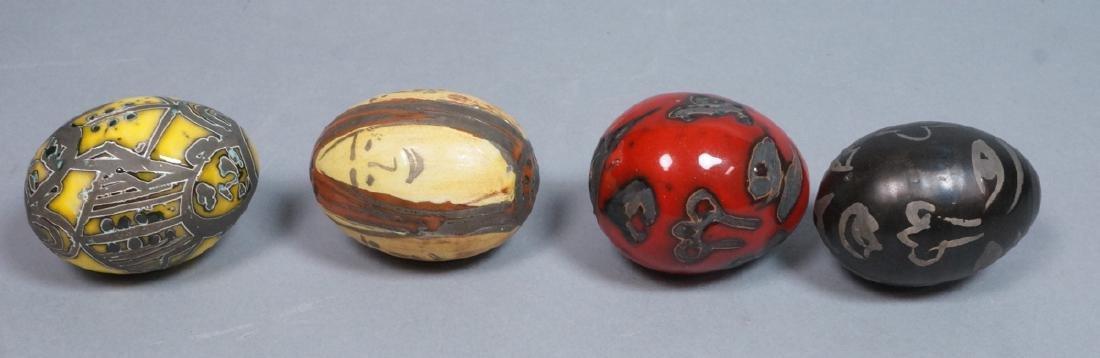 4 MADOURA Attrib. Pottery Face Design Glazed Eggs