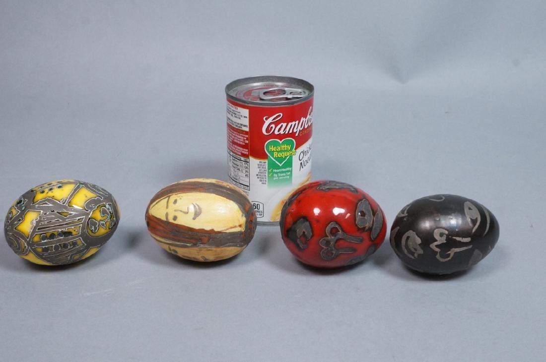 4 MADOURA Attrib. Pottery Face Design Glazed Eggs - 2