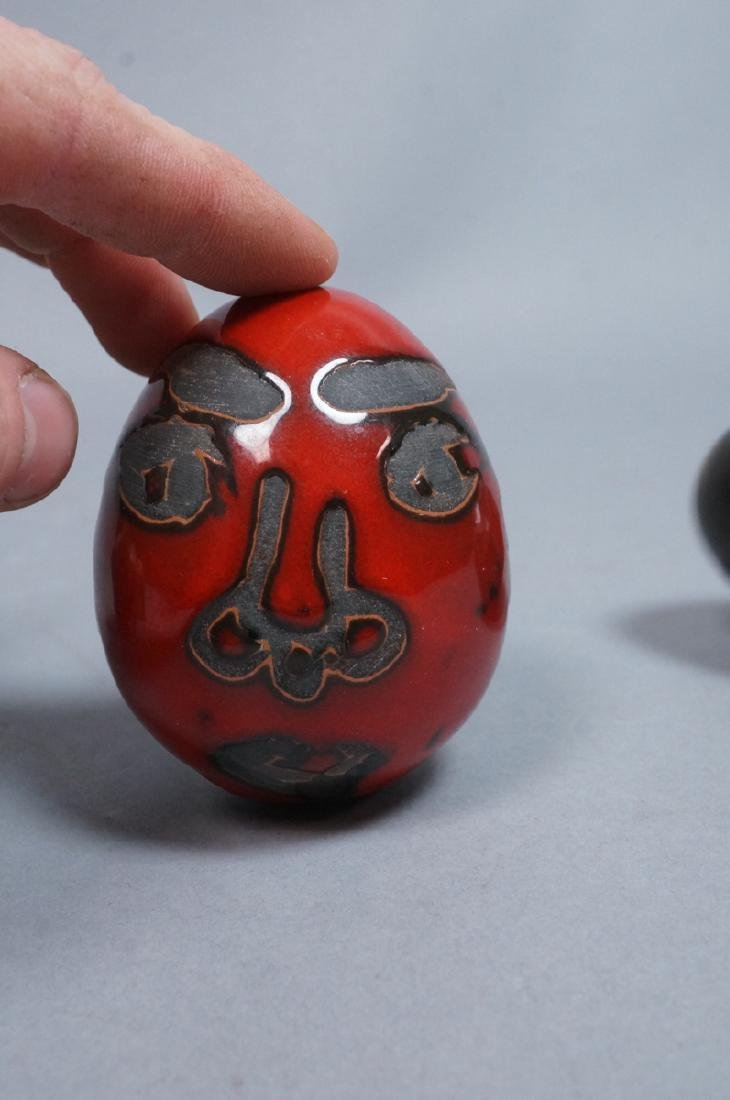 4 MADOURA Attrib. Pottery Face Design Glazed Eggs - 5