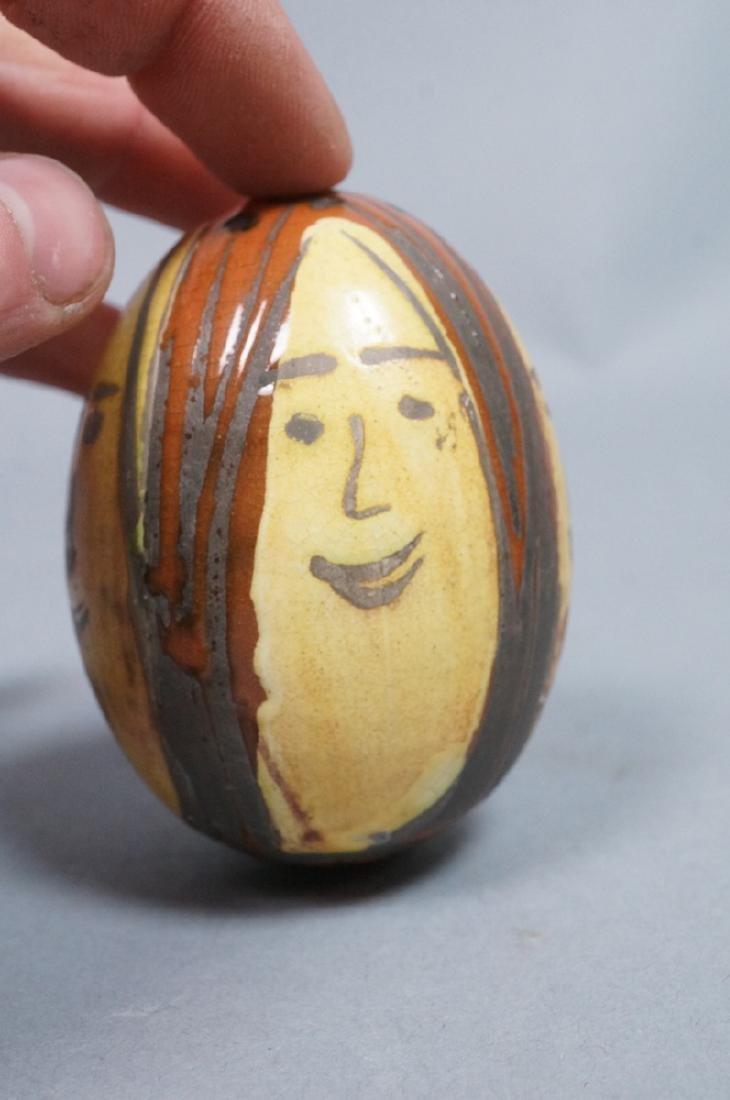 4 MADOURA Attrib. Pottery Face Design Glazed Eggs - 6