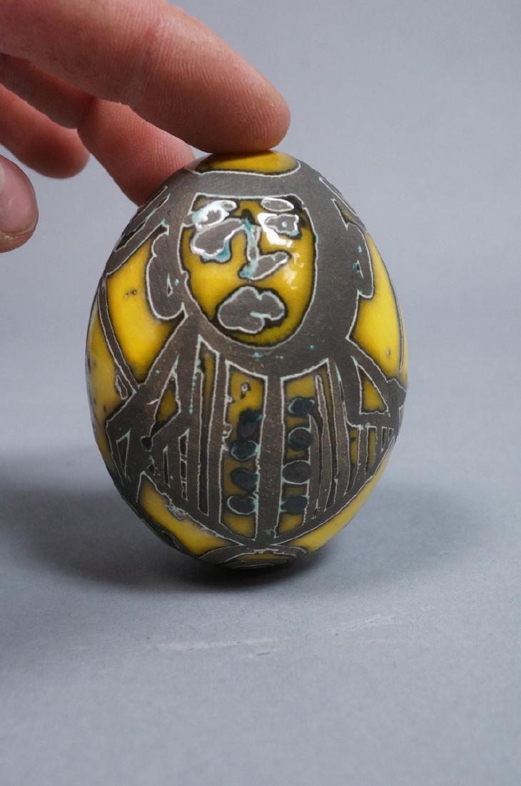 4 MADOURA Attrib. Pottery Face Design Glazed Eggs - 7