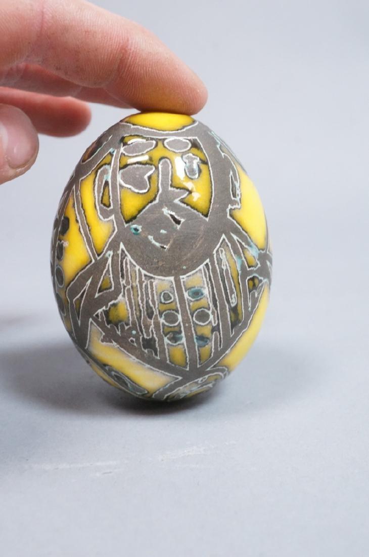 4 MADOURA Attrib. Pottery Face Design Glazed Eggs - 9