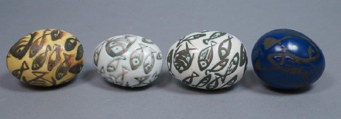 4 MADOURA Attrib. Pottery Fish Design Glazed Eggs