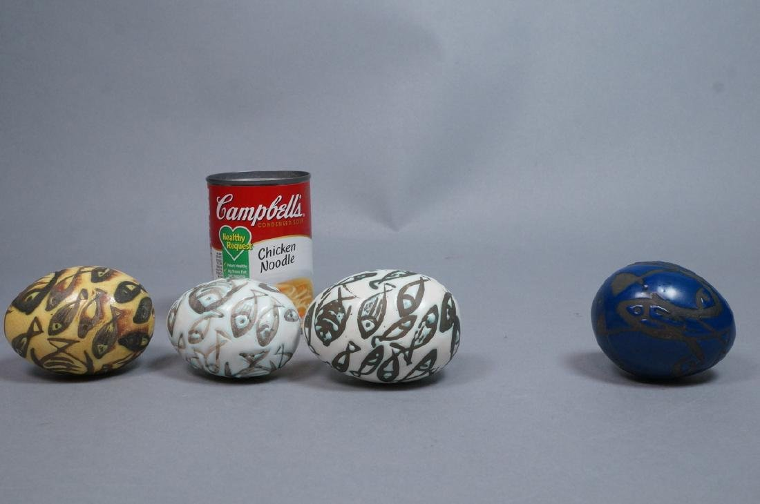 4 MADOURA Attrib. Pottery Fish Design Glazed Eggs - 2