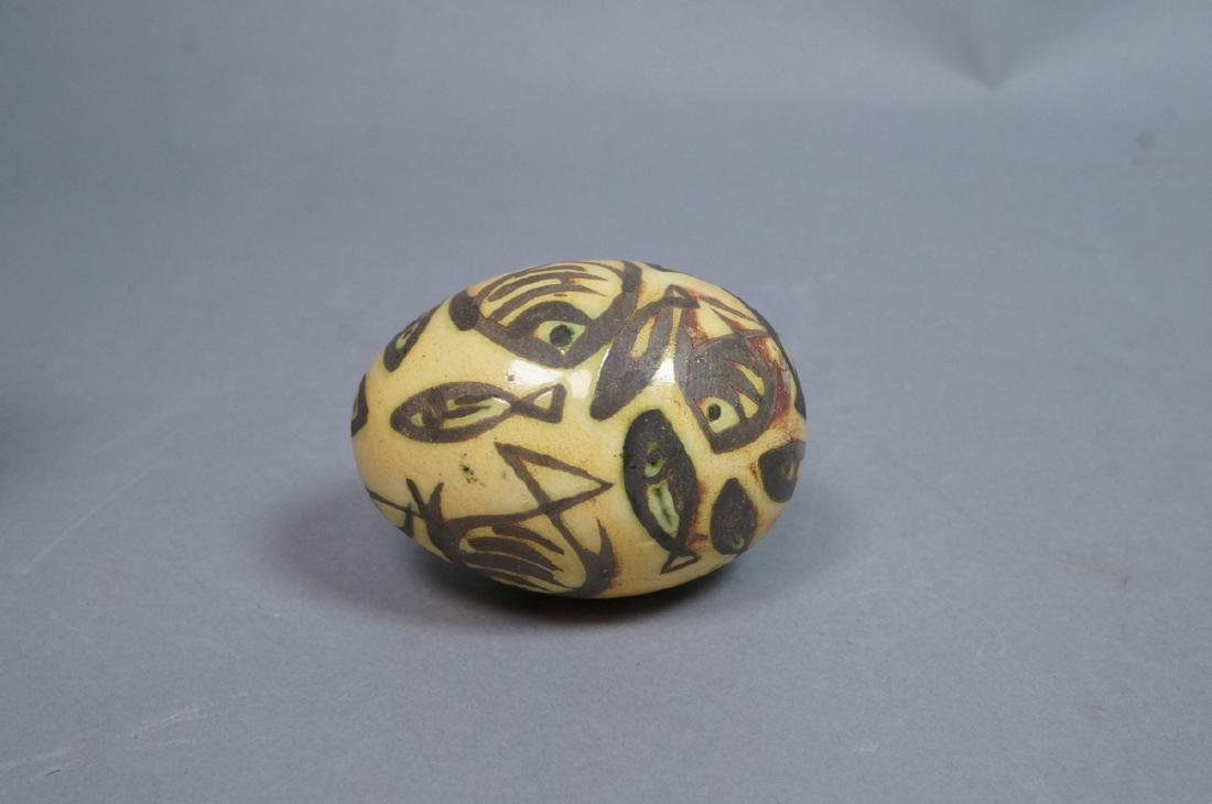 4 MADOURA Attrib. Pottery Fish Design Glazed Eggs - 6