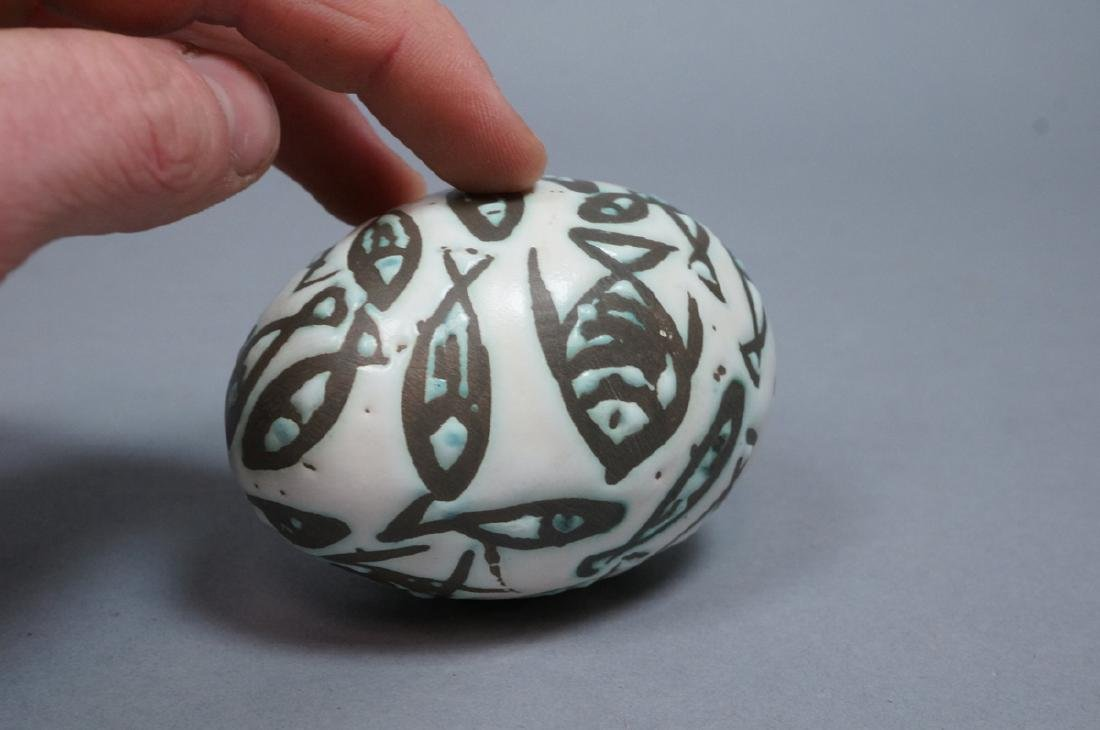 4 MADOURA Attrib. Pottery Fish Design Glazed Eggs - 9