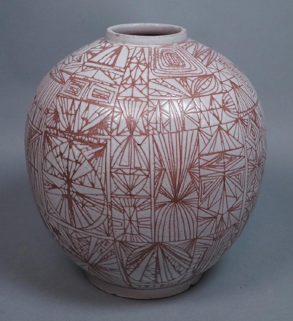 American Studio Pottery Modern Lamp Base Vase. Re
