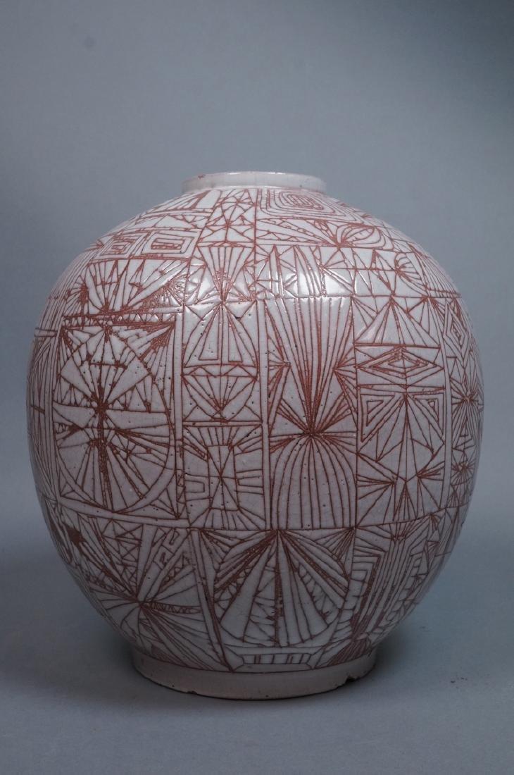 American Studio Pottery Modern Lamp Base Vase. Re - 2