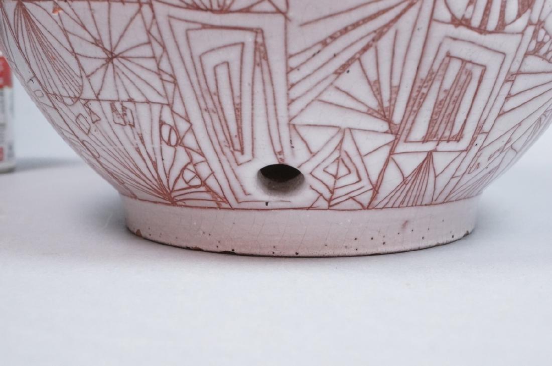 American Studio Pottery Modern Lamp Base Vase. Re - 5