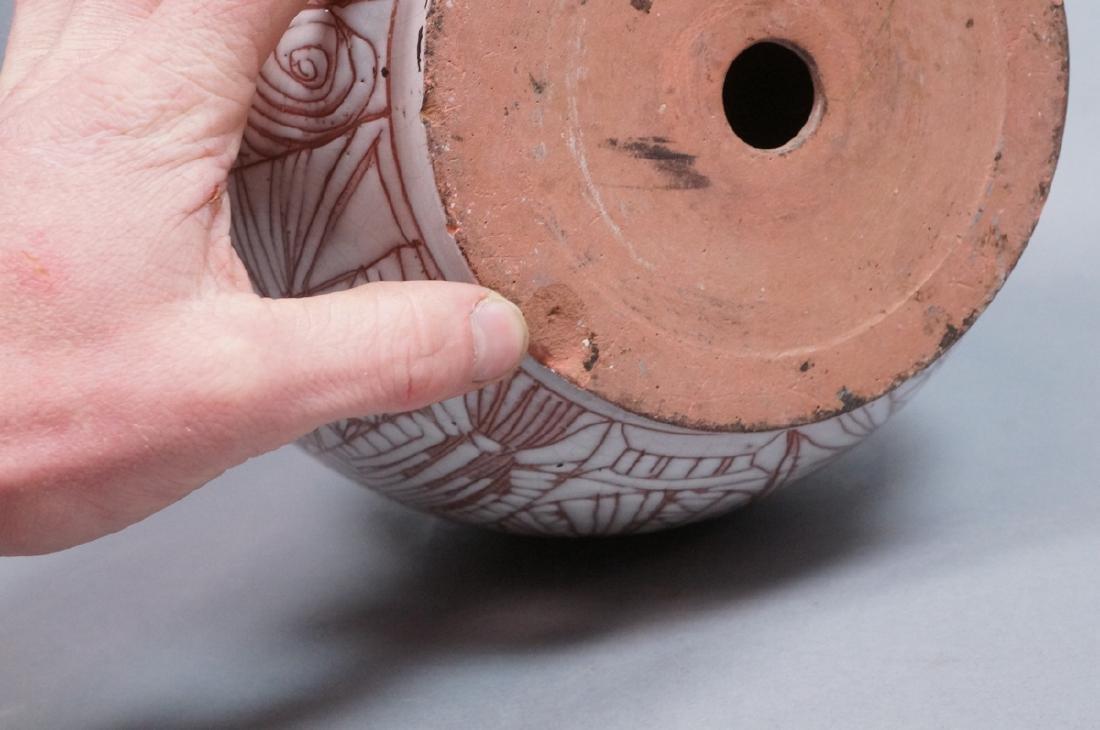 American Studio Pottery Modern Lamp Base Vase. Re - 9