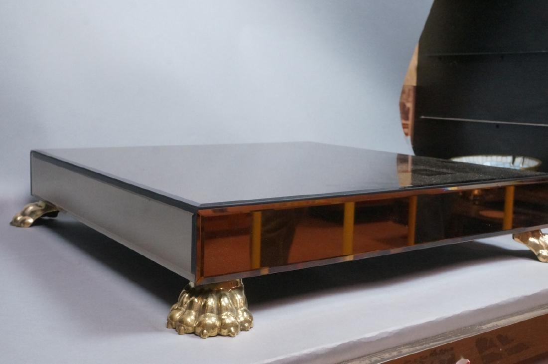 Decorator Brass Paw foot Mirrored Pedestal Shelf. - 2