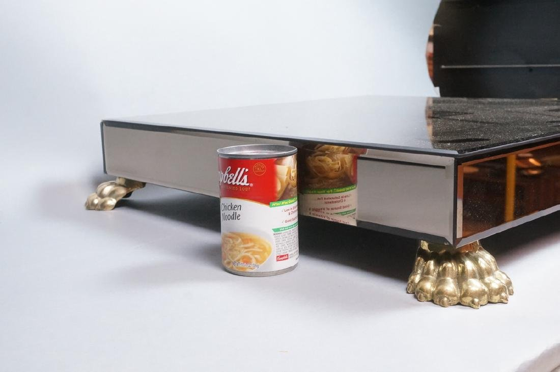 Decorator Brass Paw foot Mirrored Pedestal Shelf. - 3