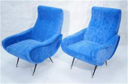 Pr Italian Style Blue Modernist Cloud Chairs. Clo
