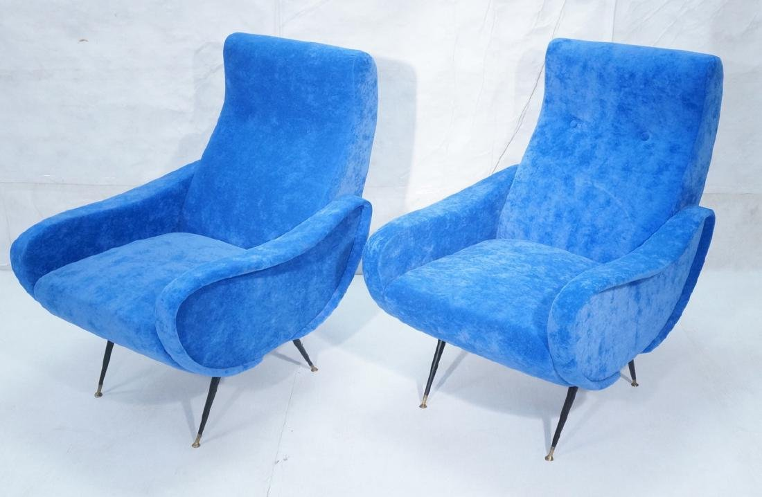 Pr Italian Style Blue Modernist Cloud Chairs. Clo