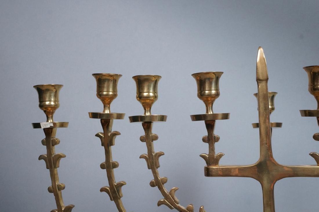 Lg Sculptural Brass Menorah. Hinged sculptural ar - 2