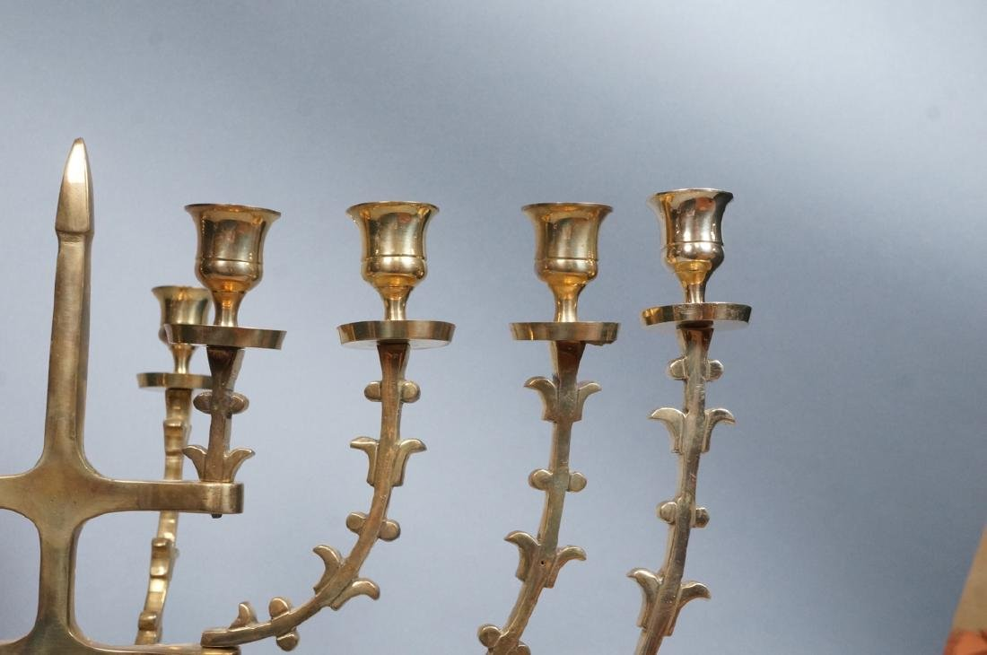 Lg Sculptural Brass Menorah. Hinged sculptural ar - 3
