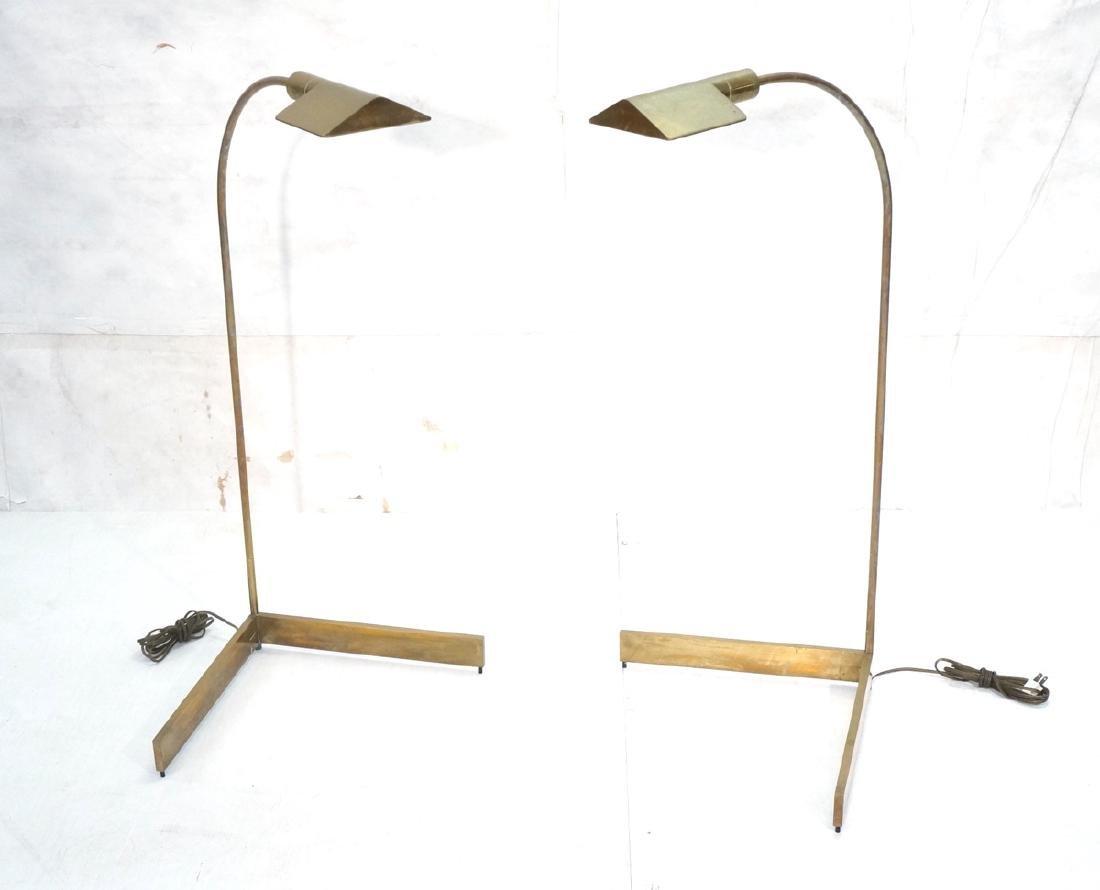 Pr CEDRIC HARTMAN Brass Corner Floor Lamps. Moder