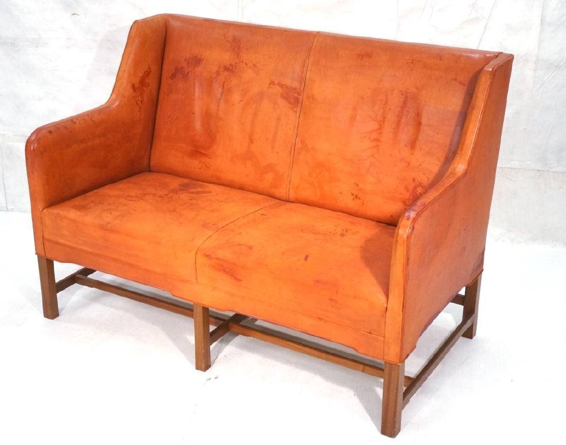 KAARE KLINT Mid Century Leather Settee. RASMUSSEN
