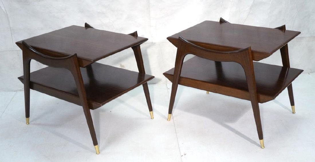 Pr American Modern Walnut Side Tables. Stylish sc