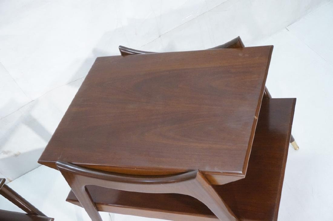 Pr American Modern Walnut Side Tables. Stylish sc - 2