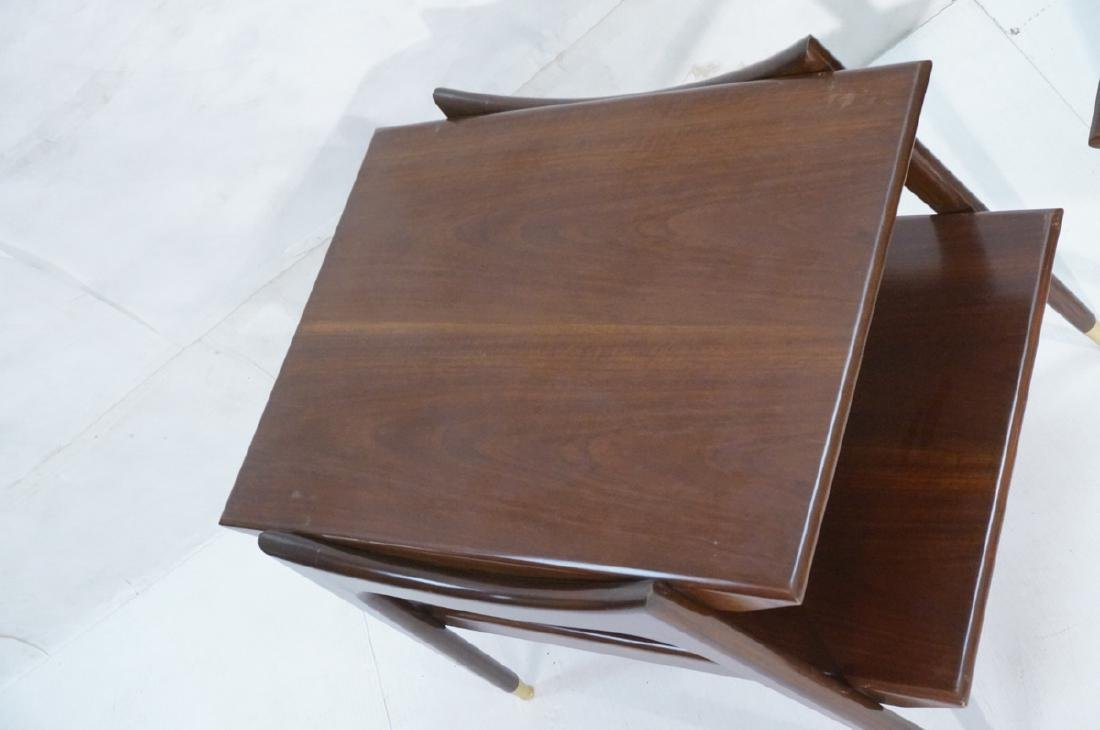 Pr American Modern Walnut Side Tables. Stylish sc - 3