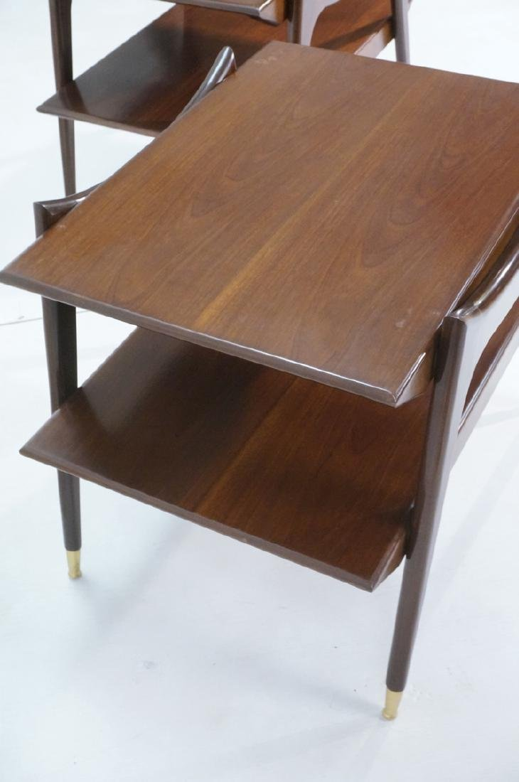 Pr American Modern Walnut Side Tables. Stylish sc - 4