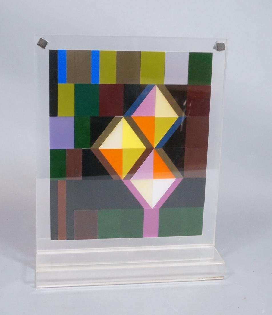 Modern Lucite Tile Art. Flat Colored Lucite Tiles