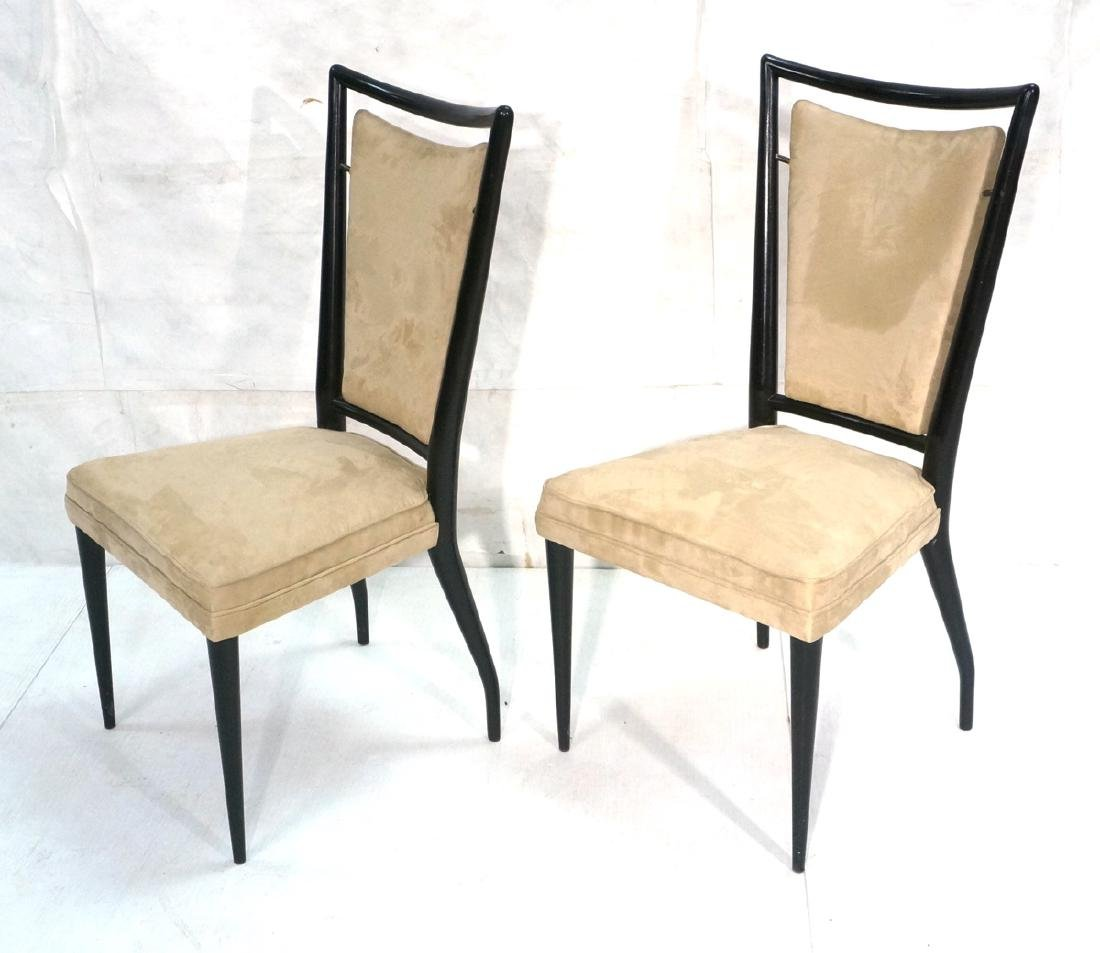 Pr Ebonized Italian Modern Dining Chairs. Tall Ba
