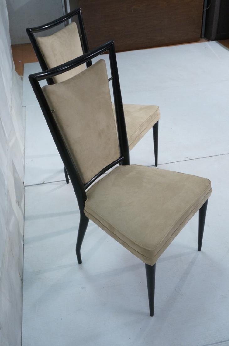 Pr Ebonized Italian Modern Dining Chairs. Tall Ba - 2