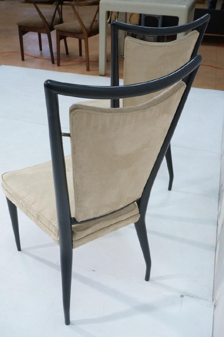 Pr Ebonized Italian Modern Dining Chairs. Tall Ba - 4