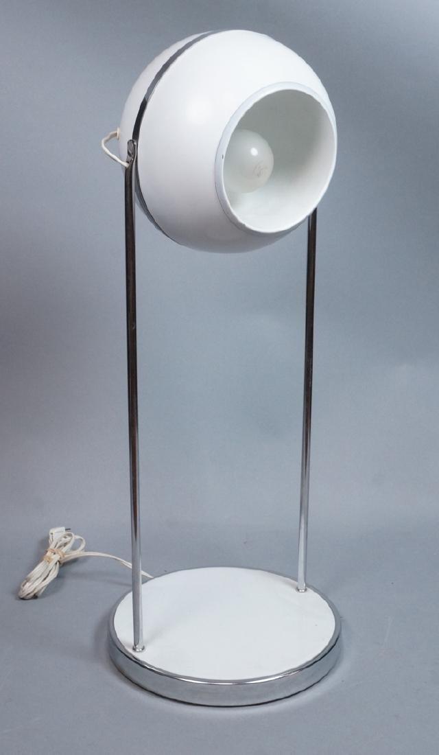 Modern White Enamel Chrome Table Lamp. Round base