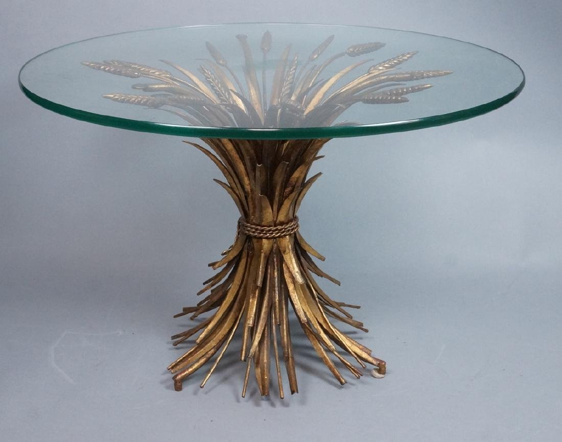 Decorator Mid Century Gilt Metal Wheat Shaft Tabl
