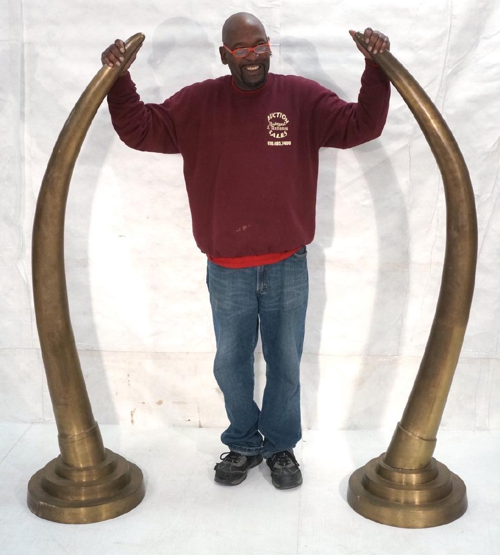 Pr Tall Dramatic Decorator Brass Tusk Sculptures.