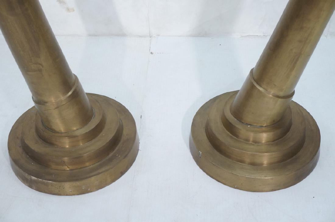 Pr Tall Dramatic Decorator Brass Tusk Sculptures. - 3