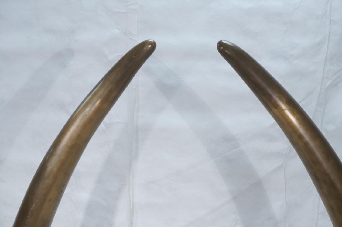 Pr Tall Dramatic Decorator Brass Tusk Sculptures. - 4