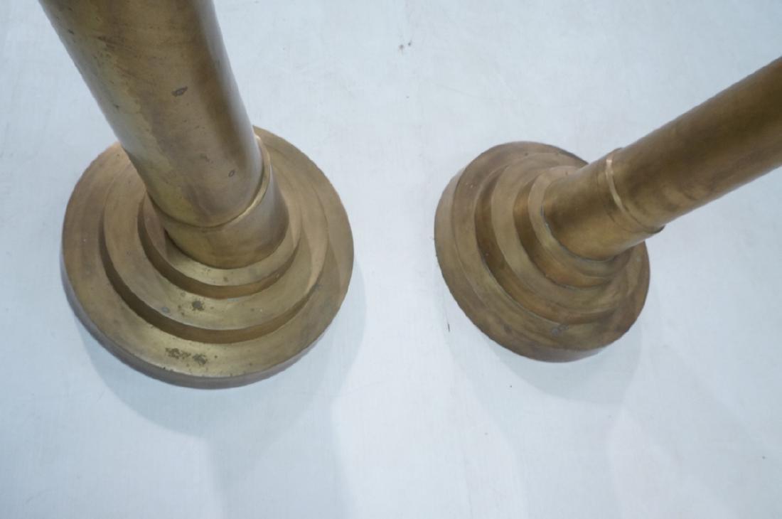 Pr Tall Dramatic Decorator Brass Tusk Sculptures. - 8