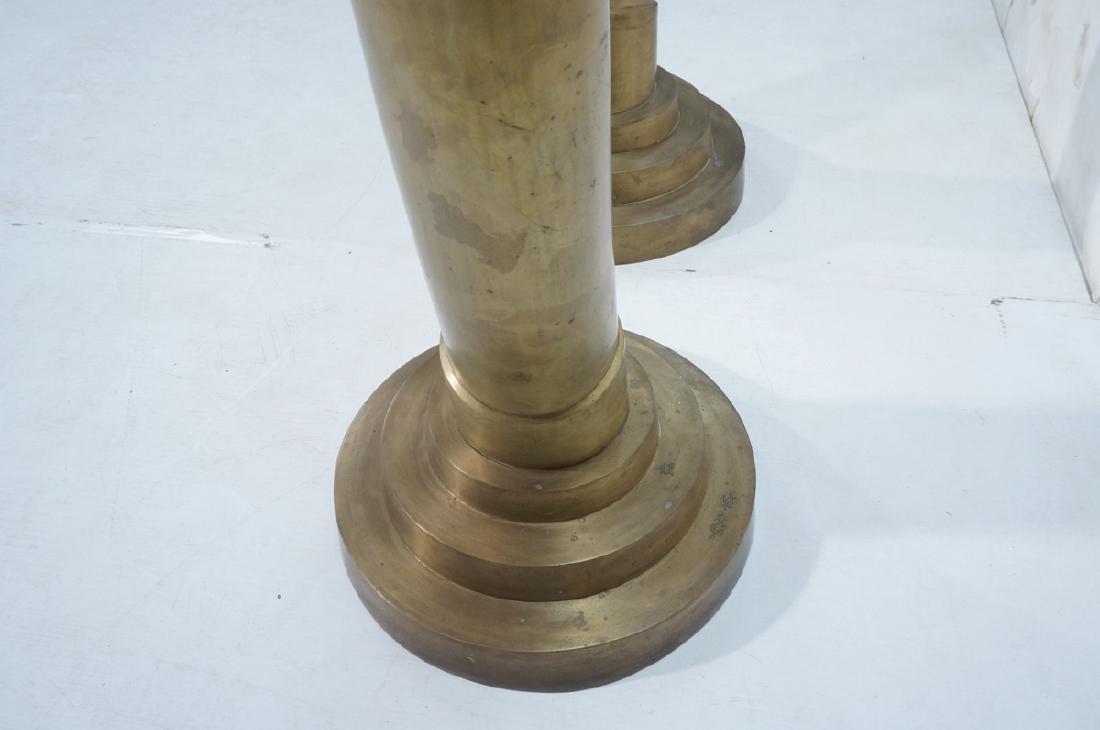 Pr Tall Dramatic Decorator Brass Tusk Sculptures. - 9
