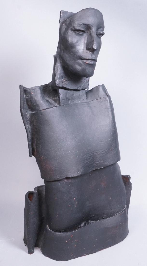 Brutalist Black Figural Ceramic Sculpture. Portra