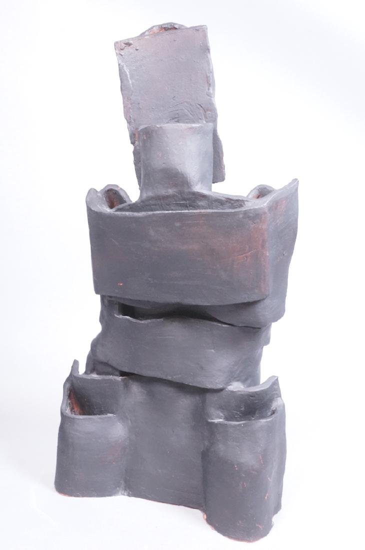 Brutalist Black Figural Ceramic Sculpture. Portra - 3