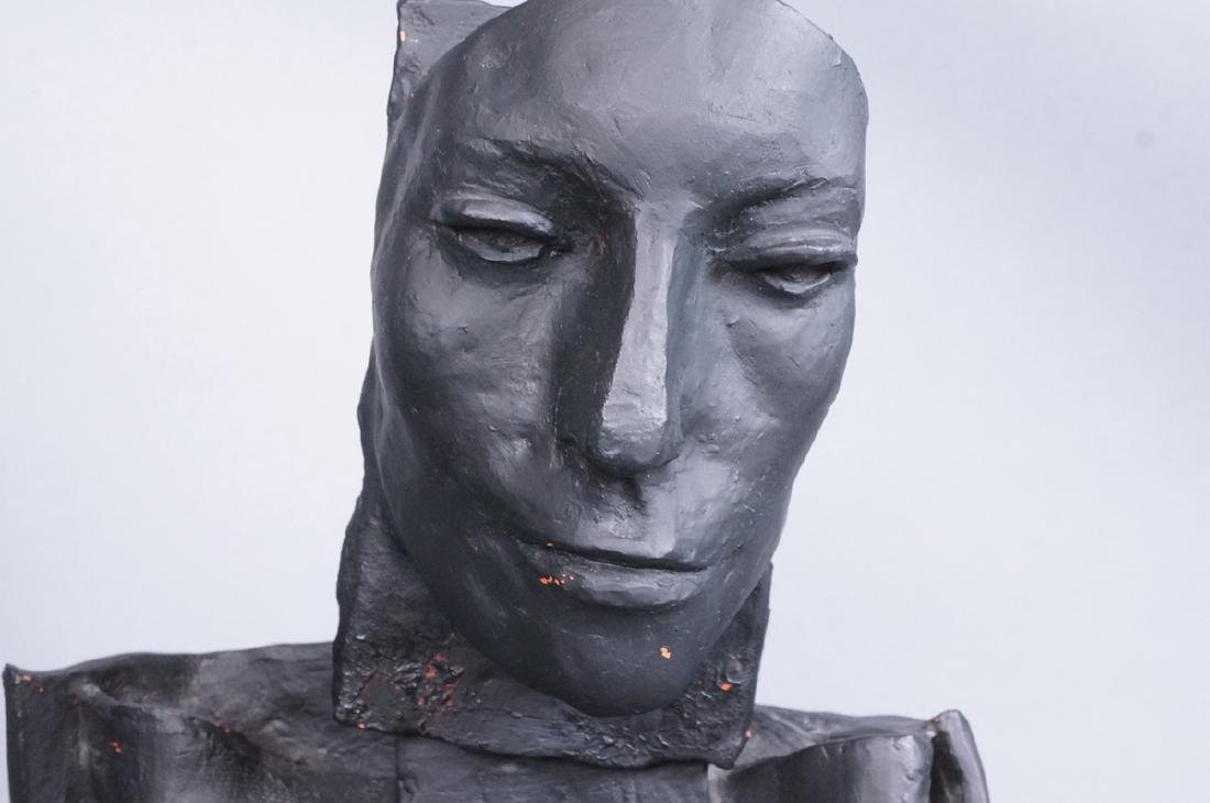 Brutalist Black Figural Ceramic Sculpture. Portra - 5