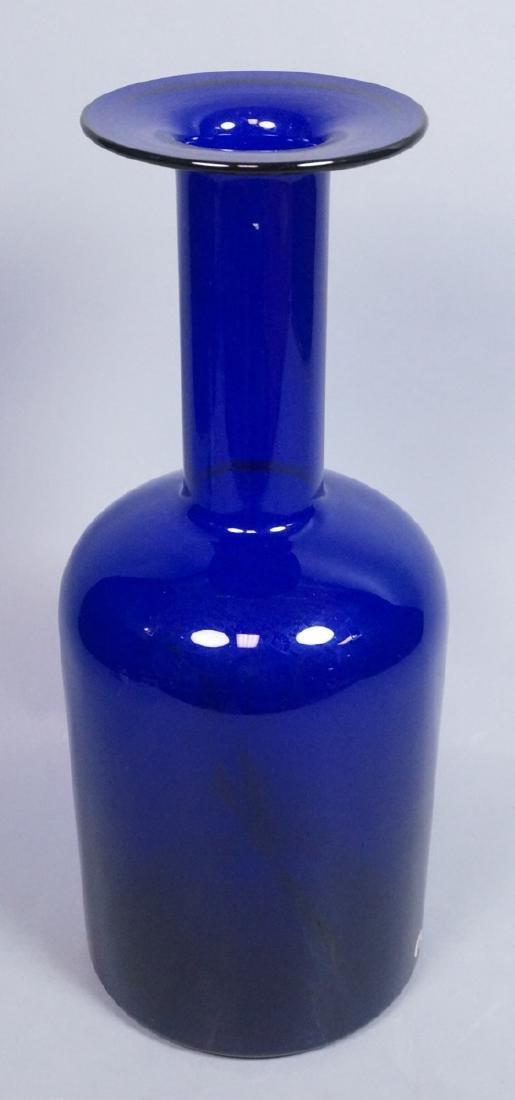 HOLMEGAARD Cobalt Blue Glass Bottle Form Vase. Lo