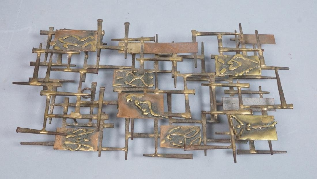 Brutalist Nail and Mixed Metal Wall Sculpture. Si