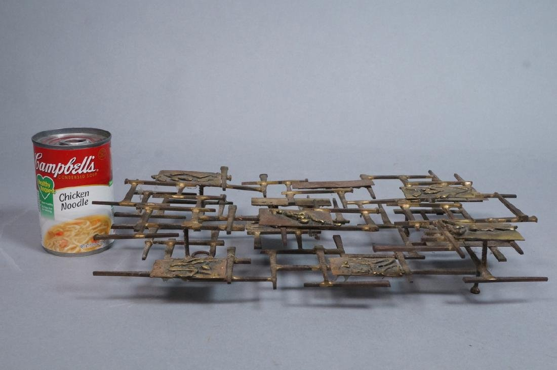 Brutalist Nail and Mixed Metal Wall Sculpture. Si - 2
