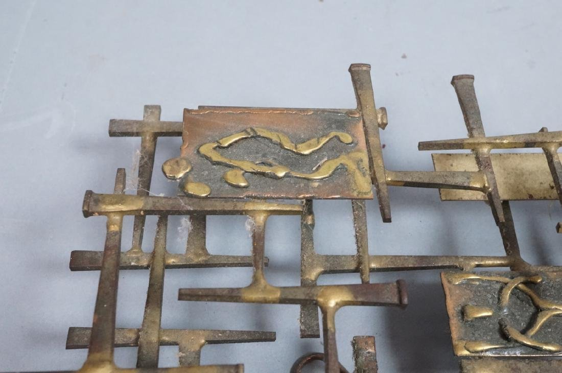 Brutalist Nail and Mixed Metal Wall Sculpture. Si - 3