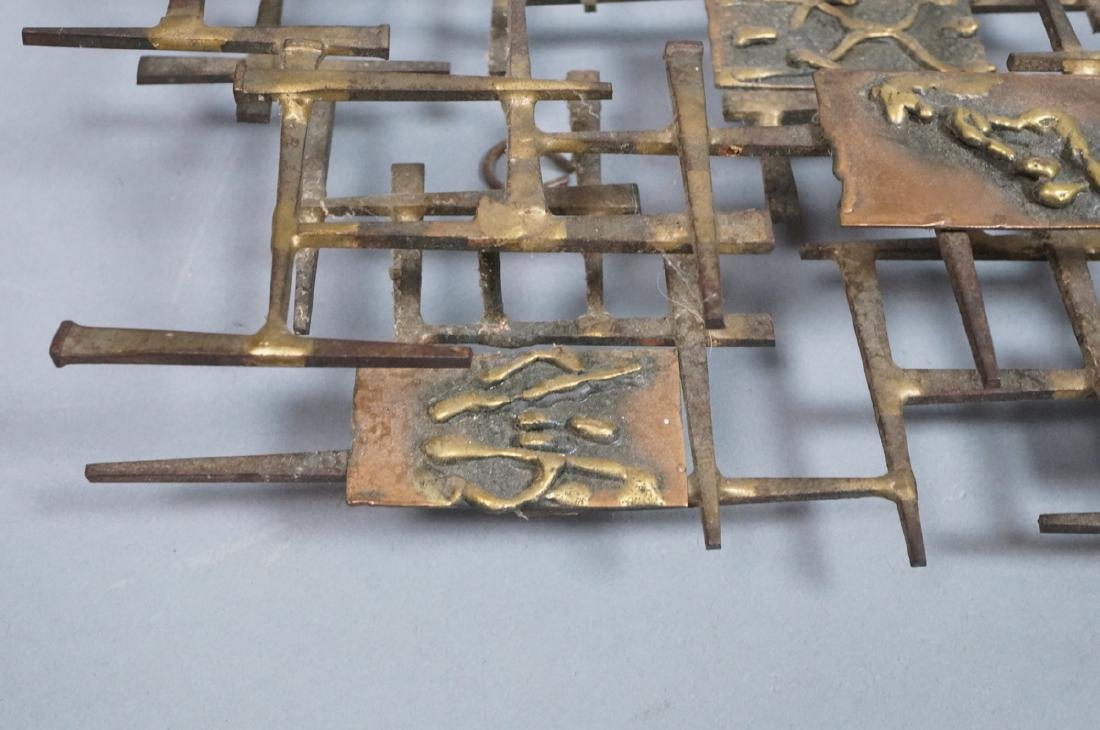 Brutalist Nail and Mixed Metal Wall Sculpture. Si - 7