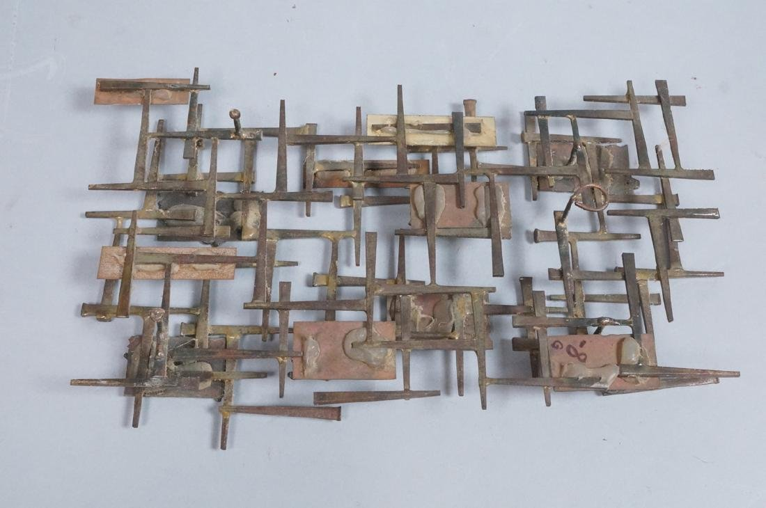 Brutalist Nail and Mixed Metal Wall Sculpture. Si - 9