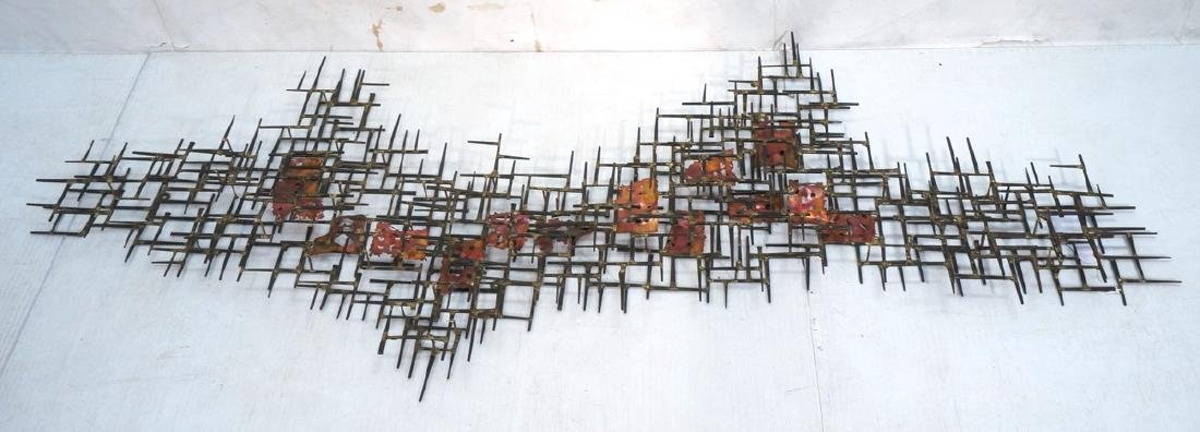 Lg Brutalist Welded Nail & Copper Wall Sculpture.