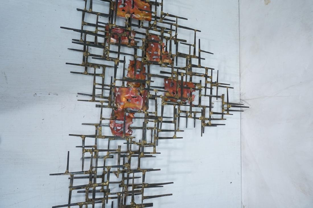 Lg Brutalist Welded Nail & Copper Wall Sculpture. - 3