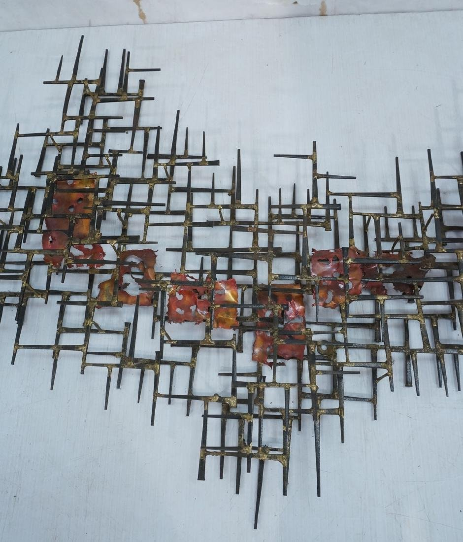 Lg Brutalist Welded Nail & Copper Wall Sculpture. - 6